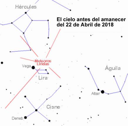 Mapa celeste para la observación de las Líridas la madrugada del 22 de Abril de 2018.